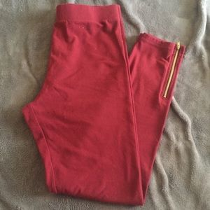 Maroon Leggings with Zipper Details